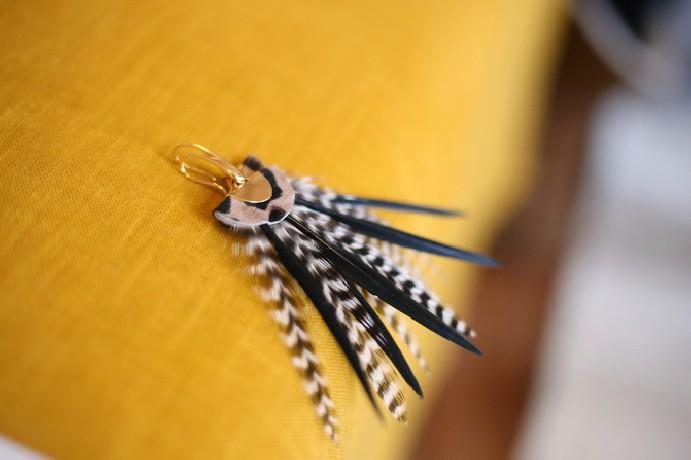 boucles d'oreilles plumes Tropical Rock Panthère /Noir