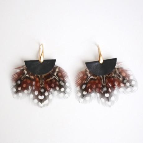 boucles d'oreilles plumes Tragopan noir
