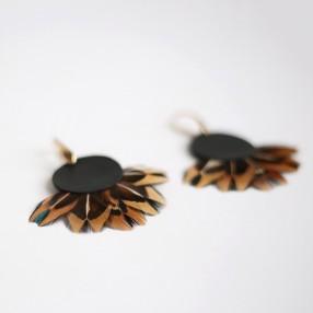 Boucles d'oreilles plumes Phaedra Noir