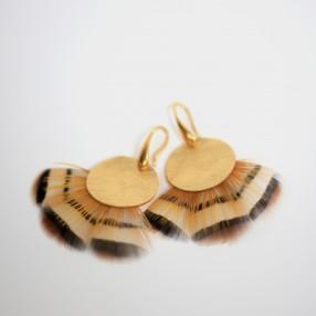 Boucles d'oreilles plumes HELIA Or jaune
