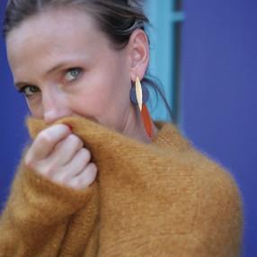 Boucles d'oreilles plumes KASAÏ Graphite