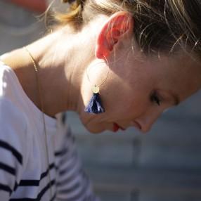 Boucles d'oreilles plumes Sweet Bleu