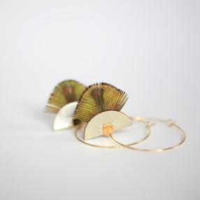 Boucles d'oreilles plumes Pia Champagne