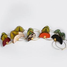 Boucles d'oreilles plumes Pia Bordeaux