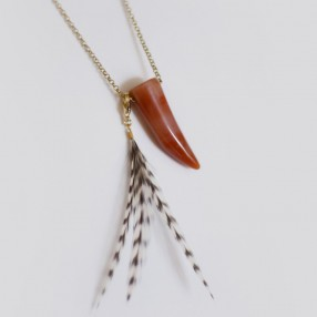 Sautoir Corne Agate rouge