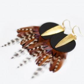 Boucles d'oreilles plumes Dunes Noir
