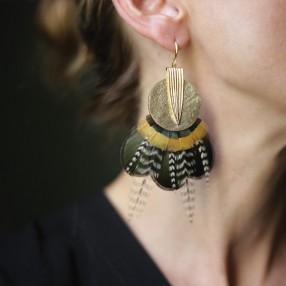 Boucles d'oreilles plumes Dunes Or Jaune