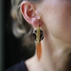 Boucles d'oreilles plumes KASAÏ Panthère