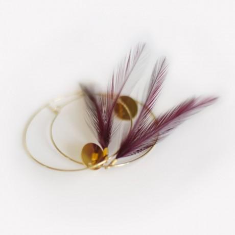 boucles d'oreilles plumes créole coq prune