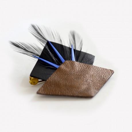 Broche plumes Noir & Bleu