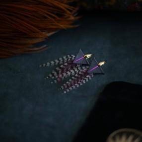 boucles d'oreilles plumes Tamara rose