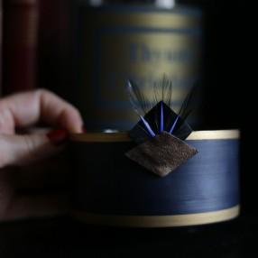 Broche plumes Noir et Bleu