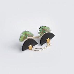 Boucles d'oreilles plumes Pia Noir