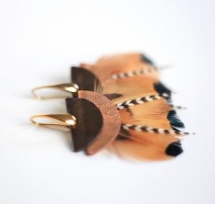 boucles d'oreilles plumes Terracotta