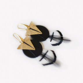 boucles d'oreilles plumes Amma or