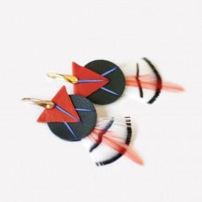 boucles d'oreilles plumes Amma orange